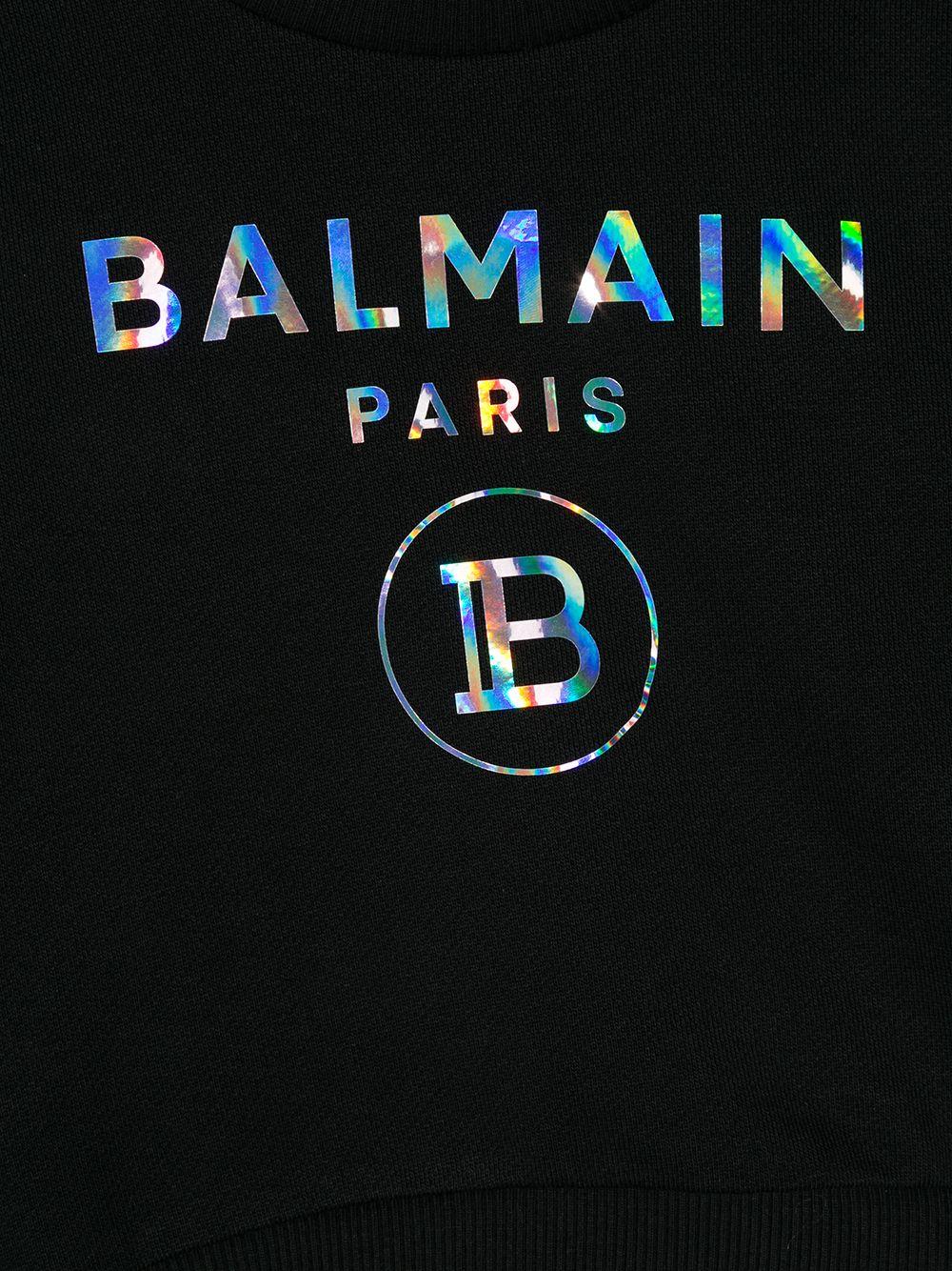 felpa con logo laminato Balmain | Felpa | 6N4300NX300930