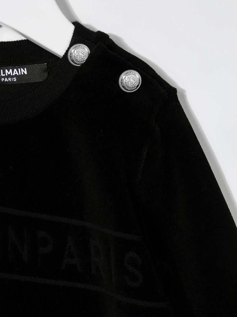felpa balmain in velluto con scritta logo Balmain | Felpa | 6N4830NB430930