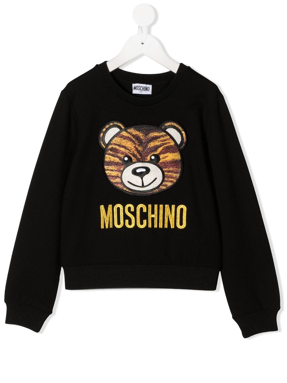 felpa Moschino con orsetto tigrato e scritta logo oro MOSCHINO KIDS | Felpa | HDF02WLJA0260100