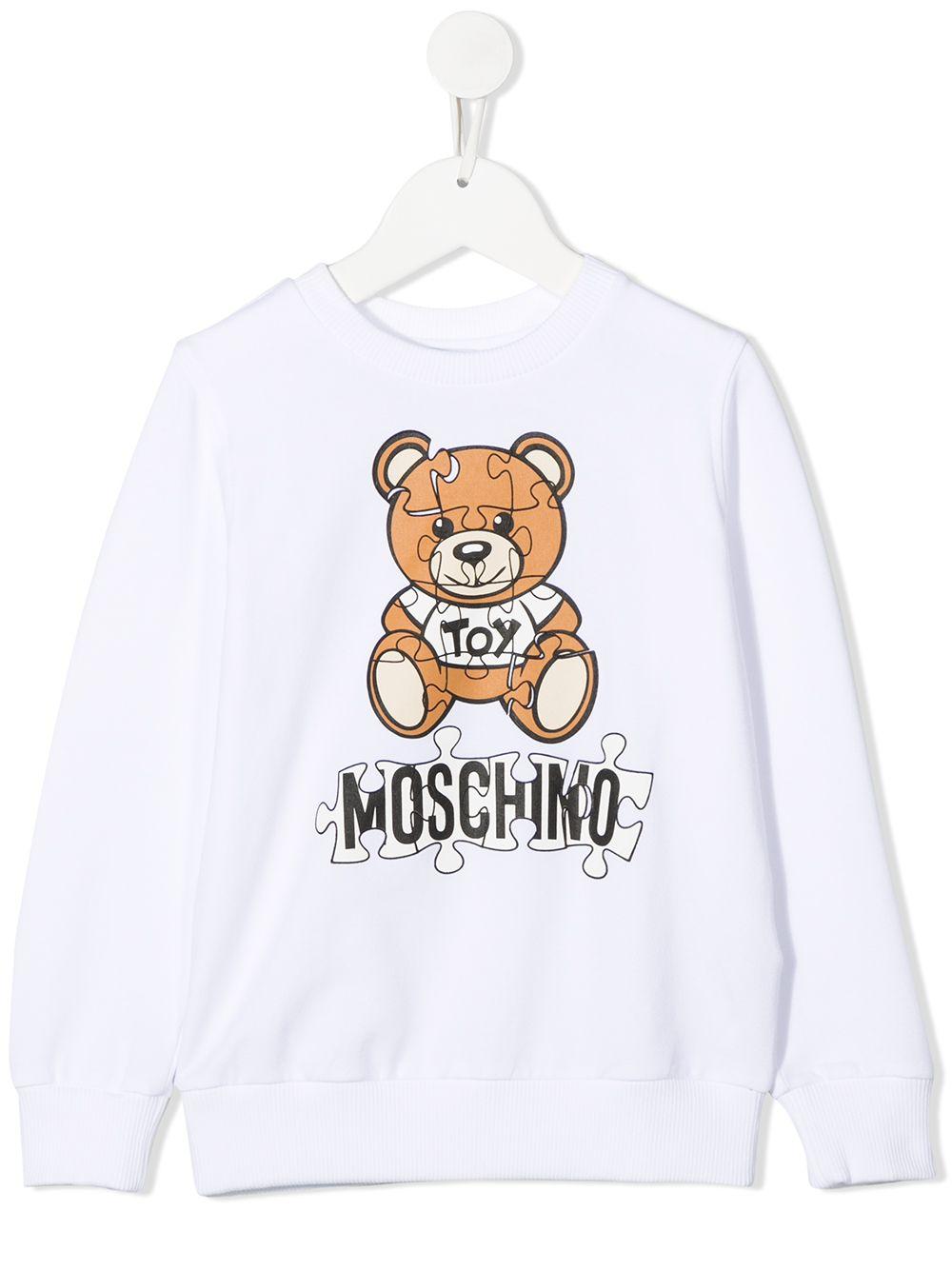 felpa Moschino con orsetto e scritta logo puzzle MOSCHINO KIDS | Felpa | HQF039LDA1410101