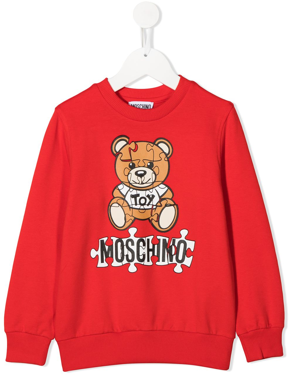 felpa Moschino con orsetto e scritta logo puzzle MOSCHINO KIDS | Felpa | HQF039LDA1450109