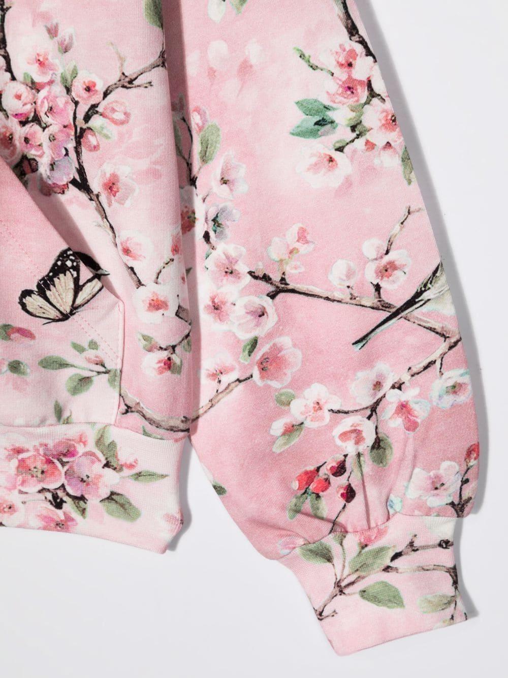 monnalisa felpa aperta cappuccio con stampa fiori di pesco MONNALISA | Felpa | 19880180030091