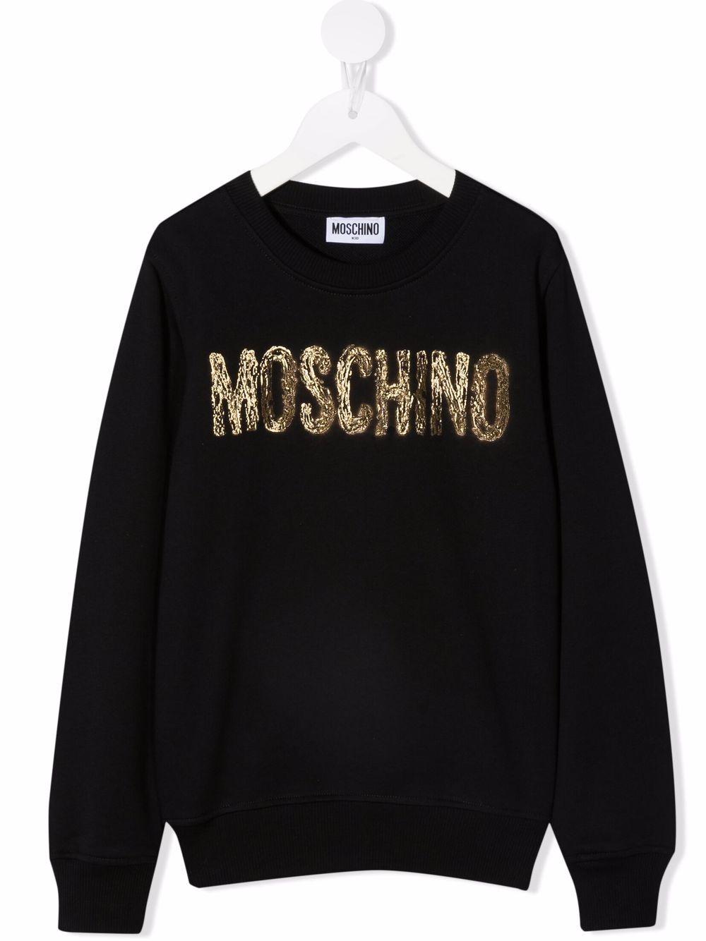 moschino kid felpa con scritta logo oro MOSCHINO KIDS | Felpa | H5F039LCA2360100