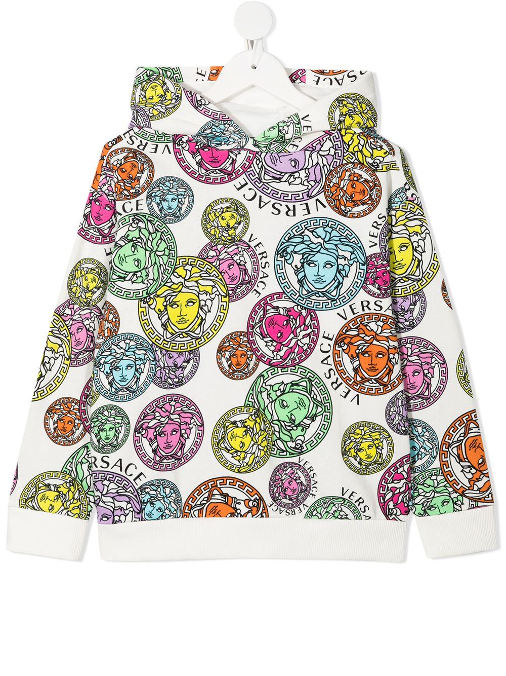 young versace felpa cappuccio in stampa medusa multicolor young versace | Felpa | 10003441A002855W000