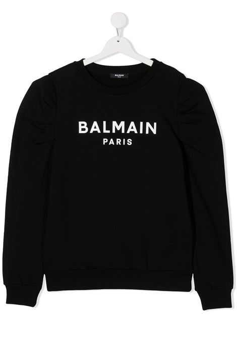 felpa con manica particolare logata Balmain | Felpa | 6N4030NX320930BCT