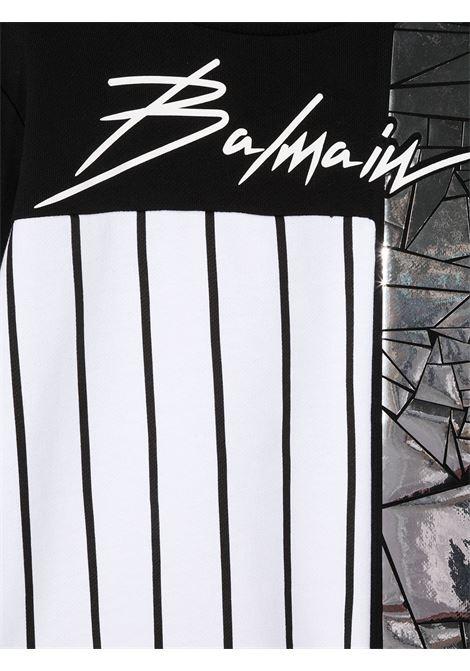 felpa bicolore con logo Balmain | Felpa | 6N4540NX300930AG