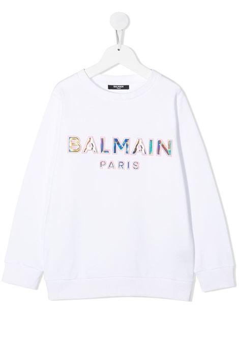 con logo a rilievo laminato Balmain | Felpa | 6N4580NX300100RS