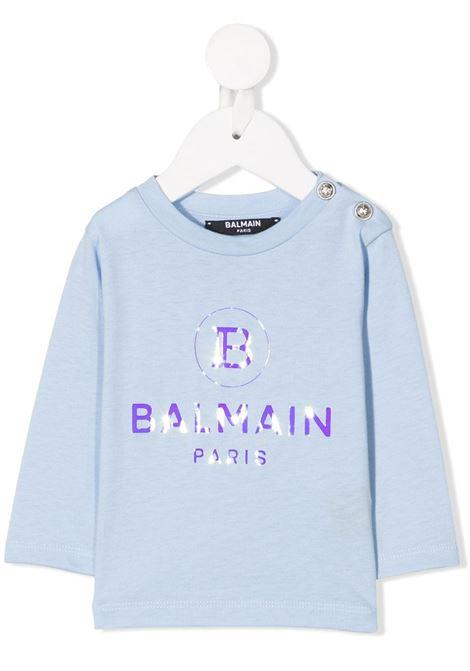 felpa con logo laminato Balmain | T shirt | 6N8800NX290607