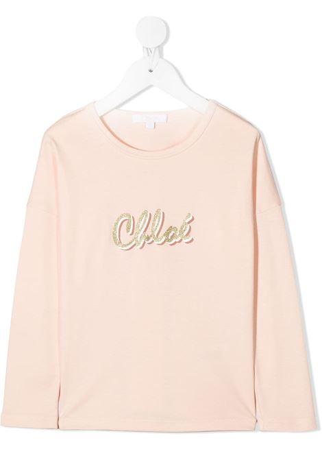 t-shirt chloè con scritta logo CHLOE' | T shirt | C15B3545F