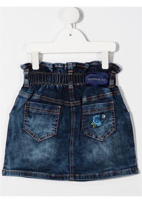 gonna jeans alta in vita con fiori ricamati MONNALISA | Gonna | 196700R460155556
