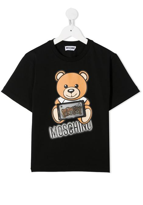 tshirt Moschino con orsetto tablet  e scritta logo MOSCHINO KIDS | T shirt | H7M029LBA1260100