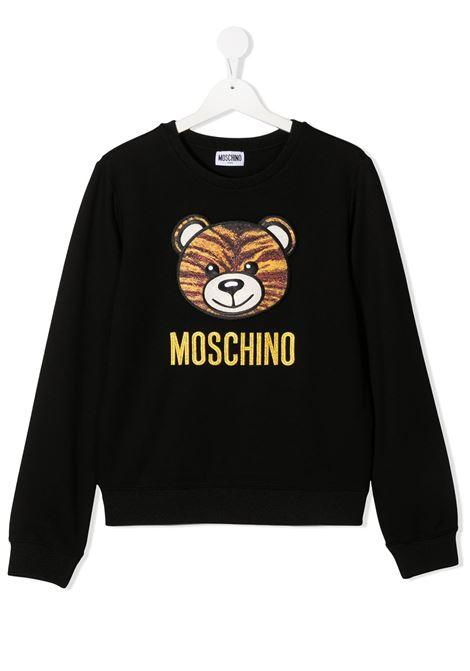felpa Moschino con orsetto tigrato e scritta logo oro MOSCHINO KIDS | Felpa | HDF02WLJA0260100T