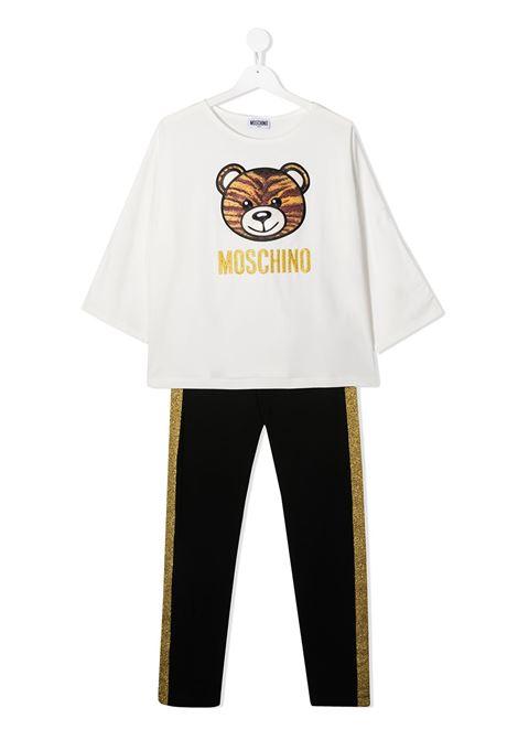completo Moschino con tshirt  orsetto tigrato e leggins con banda laterale glitter oro MOSCHINO KIDS | Completo | HDK018LBA1283933T