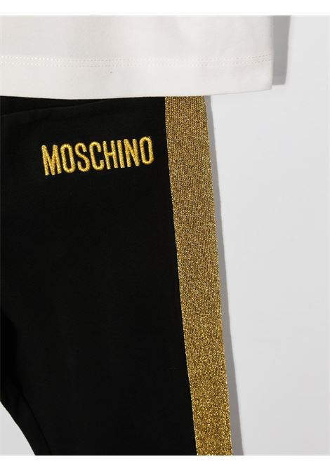 completo Moschino con tshirt  orsetto tigrato e leggins con banda laterale glitter oro MOSCHINO KIDS   Completo   HDK018LBA1283933