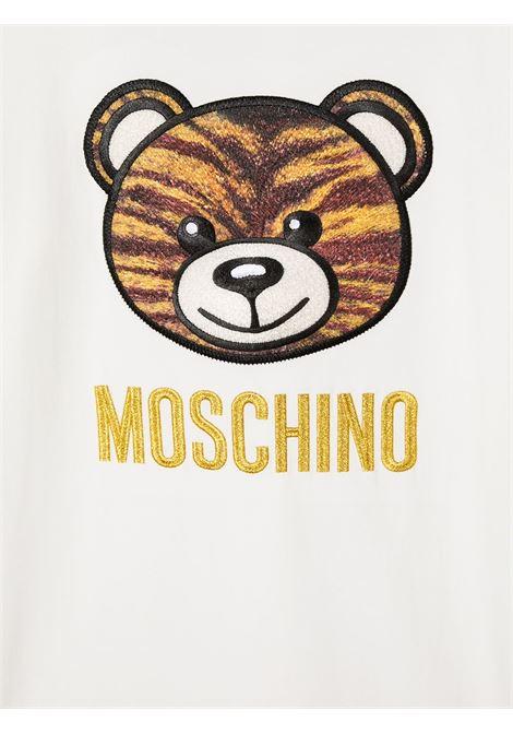 tshirt Moschino con orsetto tigrato e scritta logo oro MOSCHINO KIDS | T shirt | HDO000LBA1210063T