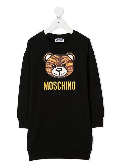 abito felpa Moschino con orsetto tigrato e scritta logo oro MOSCHINO KIDS | Abito | HHV064LDA1660100