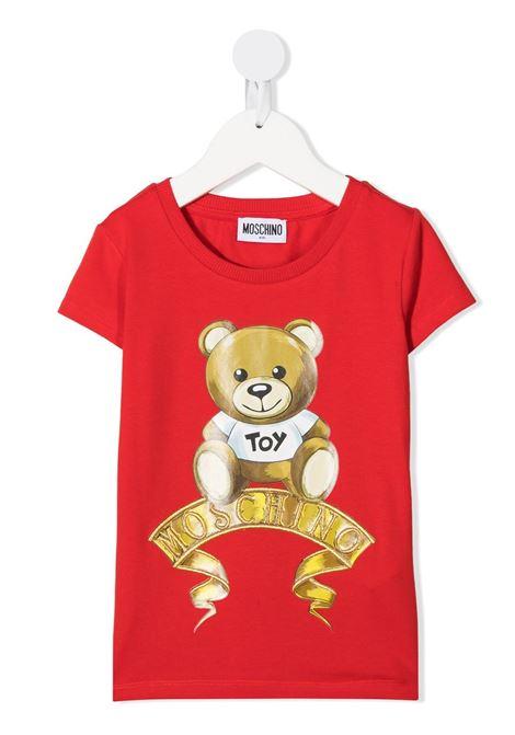 tshirt moschino con orsetto e scritta logo oro MOSCHINO KIDS   T shirt   HIM02OLBA1150109