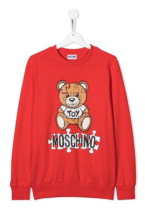 felpa Moschino con orsetto e scritta logo puzzle MOSCHINO KIDS   Felpa   HQF039LDA1450109T
