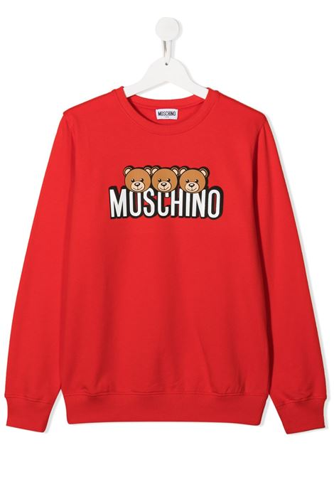 felpa Moschino con orsetti e scritta logo MOSCHINO KIDS | Felpa | HSF039LDA2650109T