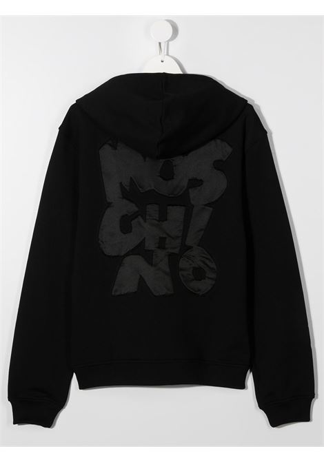 felpa cappuccio Moschino con maxi scritta logo MOSCHINO KIDS | Felpa | HUF04CLCA1460100T