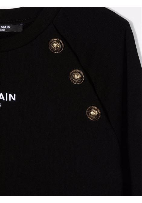 balmain abito in felpa con ricamo logo e bottoni oro Balmain | Abito | 6P1220F0015930T