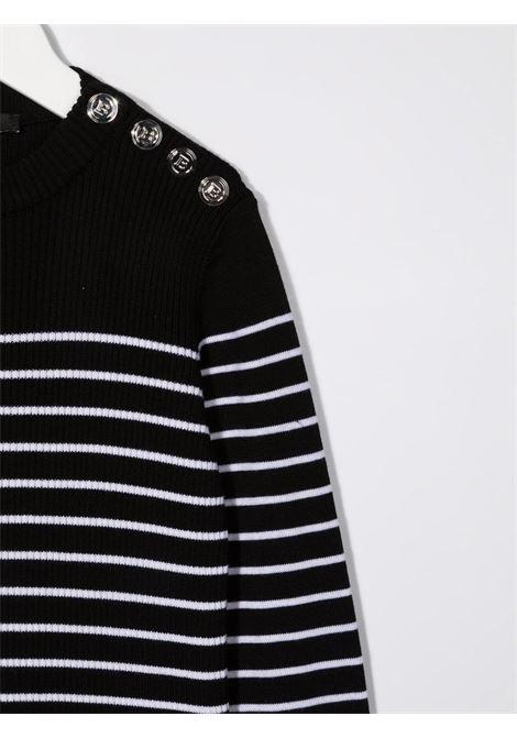 balmain maglia a coste bicolore Balmain | Maglia | 6P9550W0031930BC