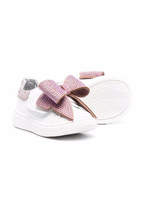 monnalisa sneakers in pelle con fiocco strass MONNALISA BEBE | Sneakers | 83800587090191