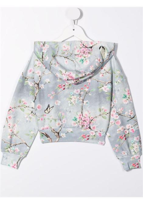 monnalisa felpa cappuccio con stampa fiori di pesco MONNALISA | Felpa | 19860180030032