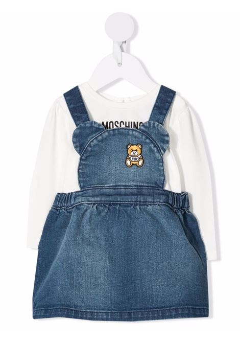 moschino salopette con tshirt stampa orsetto MOSCHINO BABY | Completo | MDK01WLDE0910063