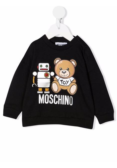 moschino felpa con stampa orsetto e robot MOSCHINO BABY | Felpa | MMF03QLDA1660100