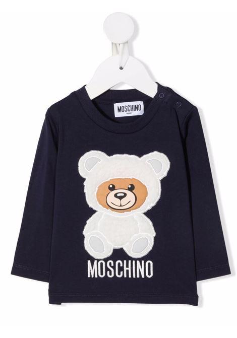 moschino tshirt con patch orsetto MOSCHINO BABY | Tshirt | MMO005LBA0140016