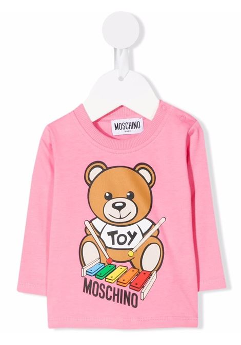 moschino tshirt con stampa orsetto con xilofono MOSCHINO BABY | Tshirt | MTO005LBA2251470