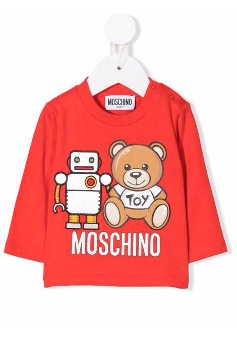 moschino tshirt con stampa orsetto e robot MOSCHINO BABY | Tshirt | MUO005LBA1150109
