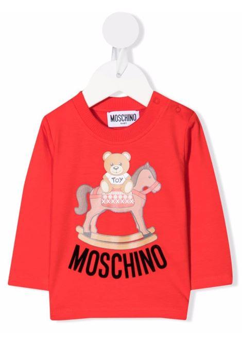 moschino tshirt con stampa orsetto con dondolo MOSCHINO BABY | Tshirt | MWO005LBA2250109