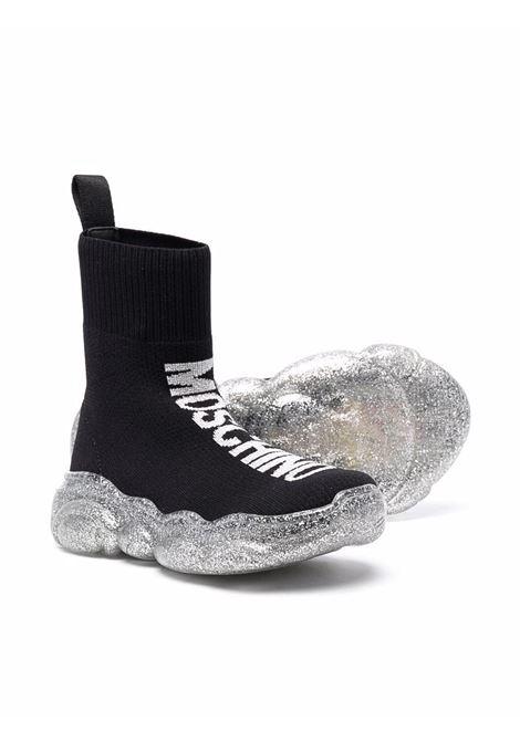 moschino kid sneakers calzino logato argento lurex MOSCHINO KIDS | Sneakers | 6890101