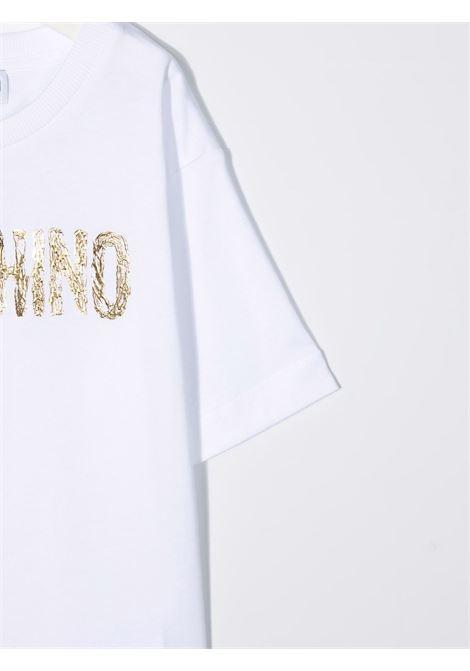 moschino kid tshirt con scritta logo MOSCHINO KIDS | Maxi t shirt | H6M02XLAA1010101