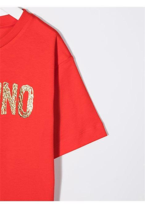 moschino kid tshirt con scritta logo MOSCHINO KIDS | Maxi t shirt | H6M02XLAA1050842