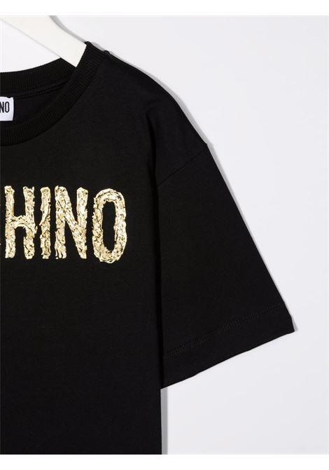 moschino kid tshirt con scritta logo MOSCHINO KIDS | Maxi t shirt | H6M02XLAA1060100
