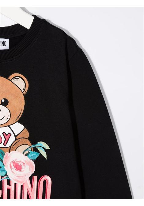 moschino felpa con stampa orso e fiori MOSCHINO KIDS | Felpa | HAF02MLDA1660100