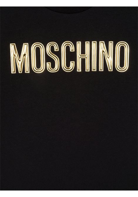 moschino tshirt stampa scritta logo oro MOSCHINO KIDS | Tshirt | HIM02TLBA1160100