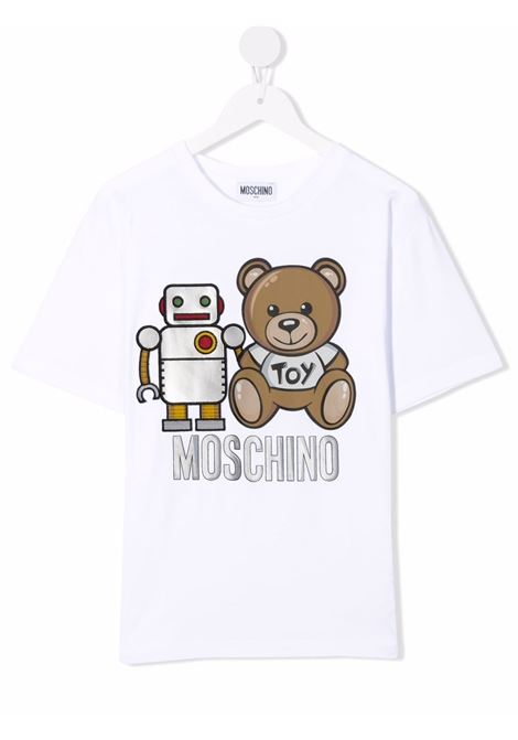 moschino maxi tshirt con stampa orsetto e robot MOSCHINO KIDS | Maxi tshirt | HTM02XLBA1110101