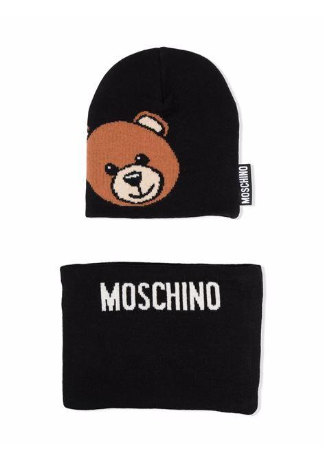 moschino cappello con collo con stampa orso MOSCHINO KIDS | Set cappello | HUX01GLHE1860100