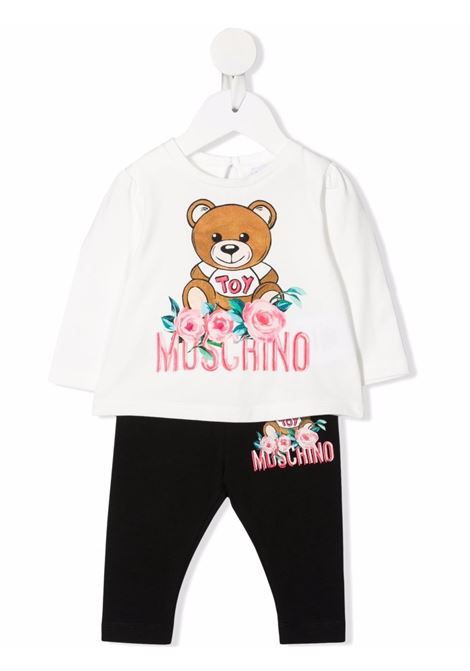 moschino tshirt con leggins stampa orsetto con fiori MOSCHINO BABY | Completo | MDK01YLBA1183965