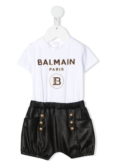 balmain baby felpa con pantalone in jersey logato Balmain | Completo | 6O1849OB690100NE