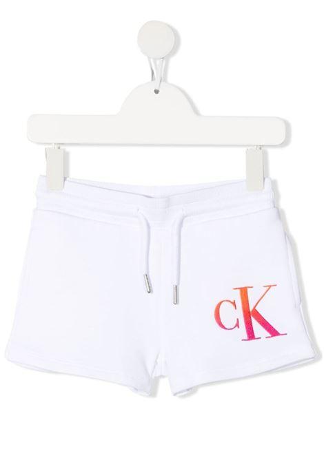 calvin klein shorts in felpa con logo ricamato CALVIN KLEIN | Shorts | IG0IG00862YAF