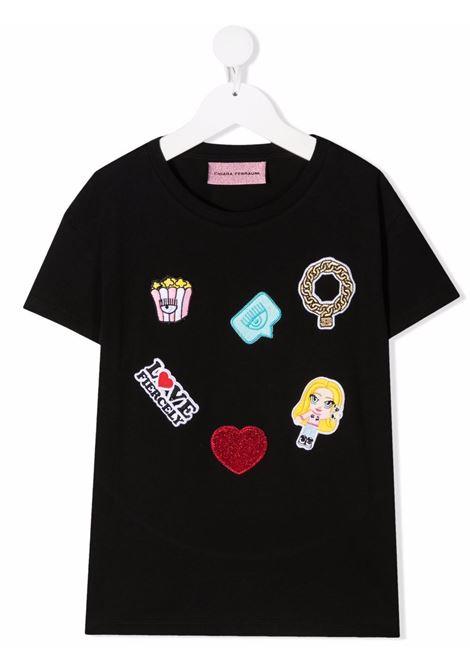 chiara ferragni tshirt con patch  logo CHIARA FERRAGNI | Tshirt | CFKT027BLK