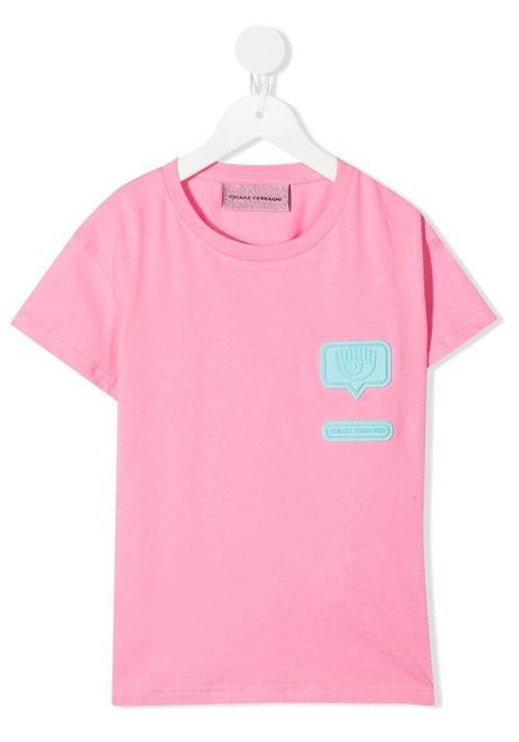 chiara ferragni tshirt con patch  logo in silicone CHIARA FERRAGNI | Tshirt | CFKT031PN