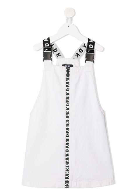 dkny abito salopette con bretelle logate a contrasto e stampa scritta logo DKNY | Abito | D32793119