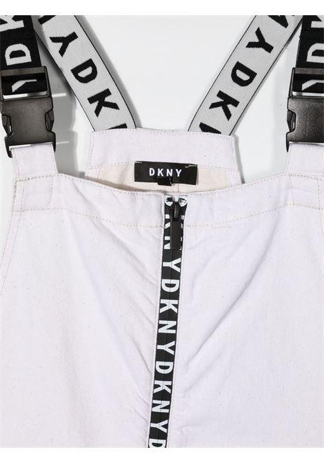dkny abito salopette con bretelle logate a contrasto e stampa scritta logo DKNY | Abito | D32793119T