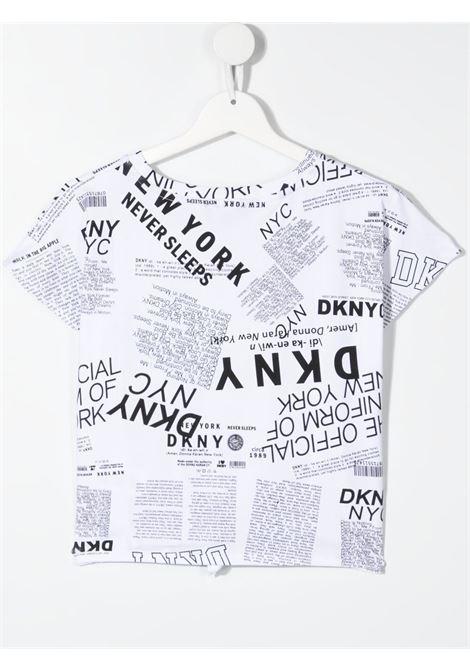 dkny tshirt con nodo tessuto stampato e con scritta logo DKNY | Tshirt | D35R30N50T